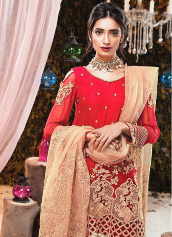 Red and Golden Embroidered Pakistani Style Suit