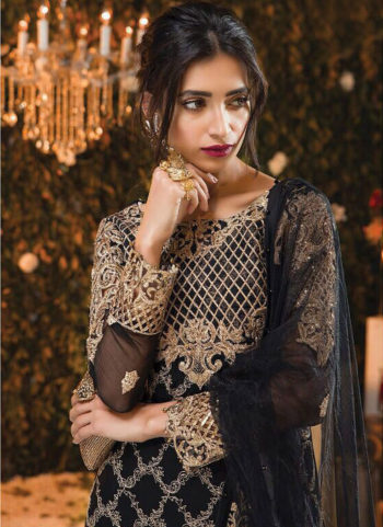 Black and Golden Embroidered Pakistani Style Suit