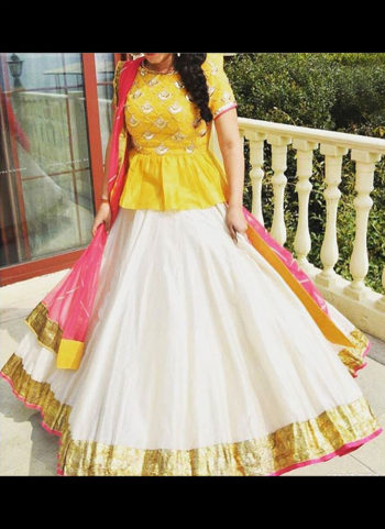 Yellow and White Peplum Embroidered Lehenga