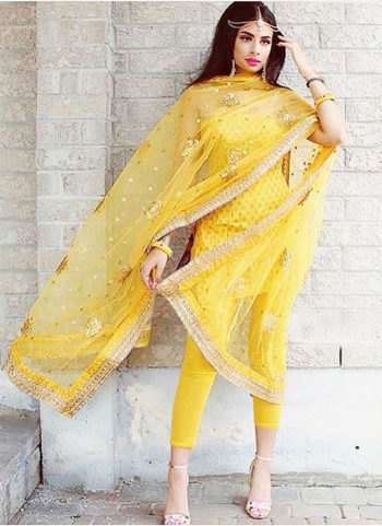 Yellow and Golden Embroidered Salwar