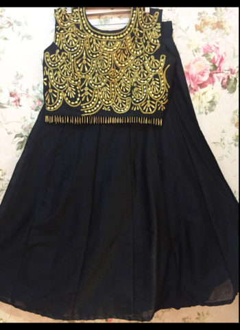 Balck and Golden Crop Top Skirt