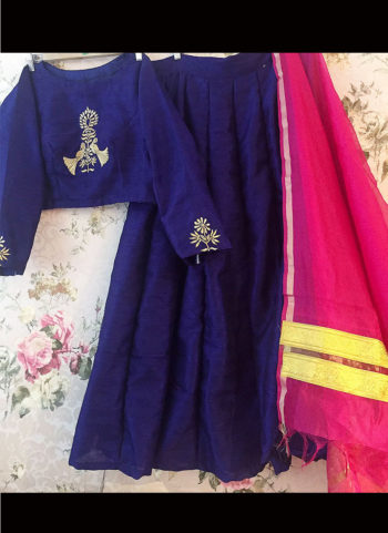Blue and Pink Lehenga