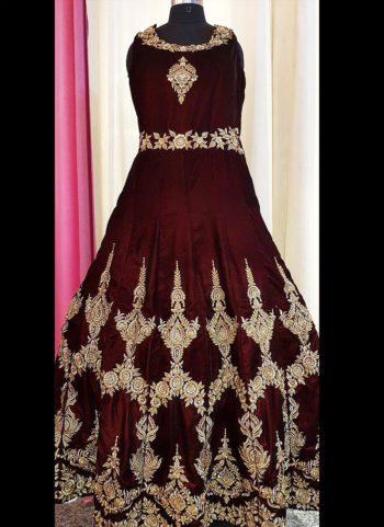Maroon and Golden Embroidered Gown