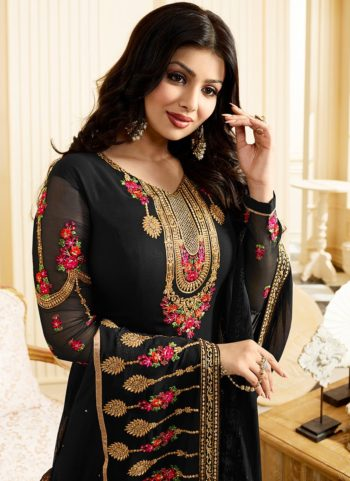 Ayesha Black and Gold Embroidered Straight Suit