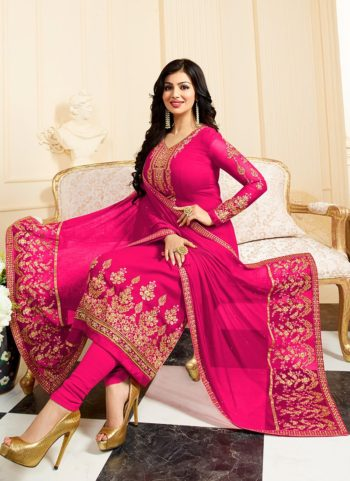 Ayesha Pink and Gold Embroidered Straight Suit