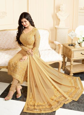 Ayesha Golden Embroidered Straight Suit