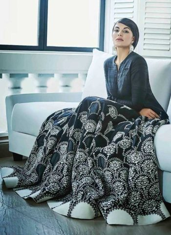 Jacqueline Black Embroidered Banglori Silk Anarkali