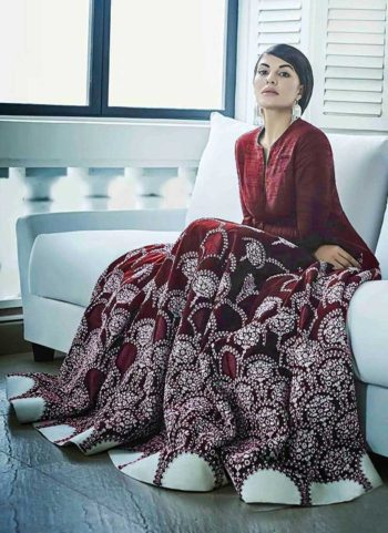 Jacqueline Maroon Embroidered Banglori Silk Anarkali