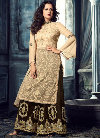Cream and Grey Embroidered Palazzo Suit