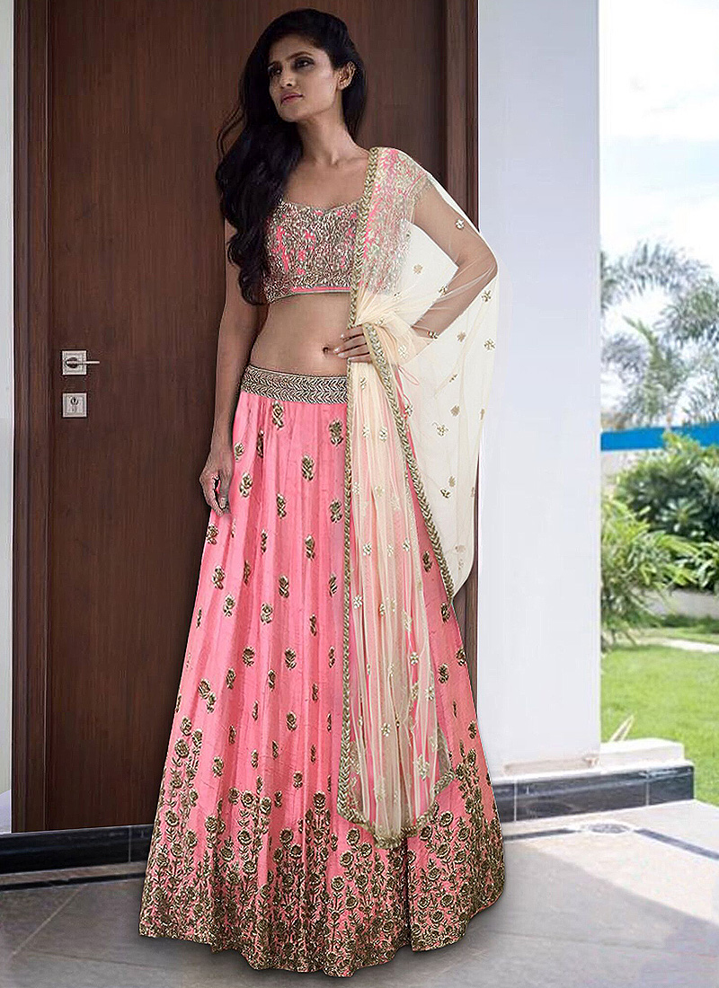 402f1a6852 Baby Pink Embroidered Lehenga Choli – Falakenoor Boutique