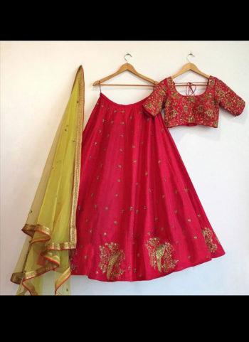Pink, Parrot Embroidered  Lehenga Choli