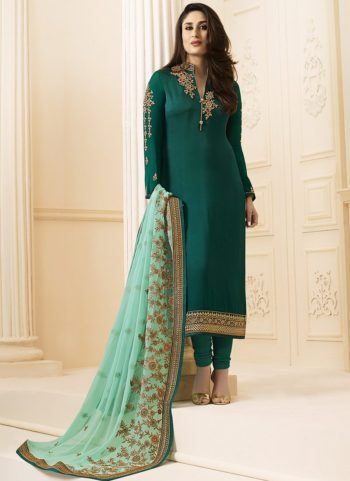 Kareena Teal Green Georgette Embroidered Straight Suit