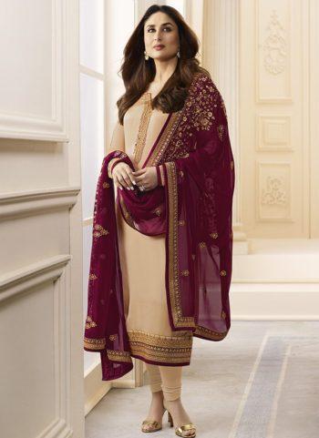 Kareena Cream Georgette Embroidered Straight Suit