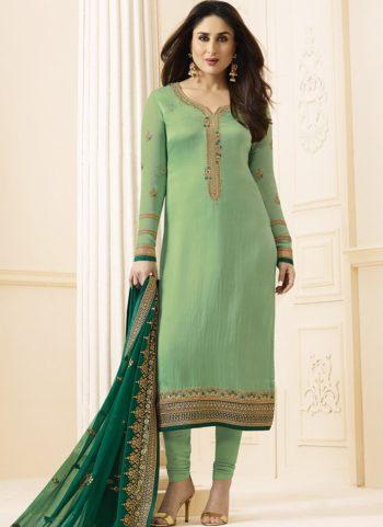 Kareena Light Green Georgette Embroidered Straight Suit