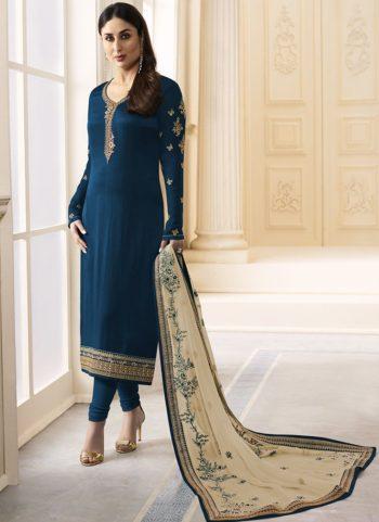 Kareena Blue Georgette Embroidered Straight Suit