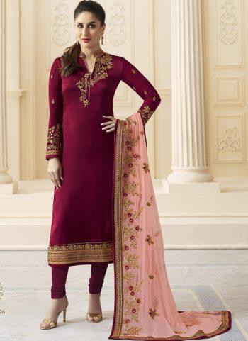 Kareena Pink Georgette Embroidered Straight Suit