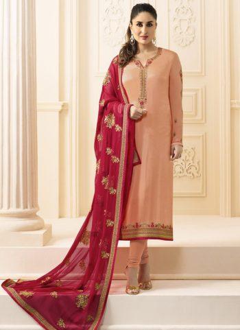 Kareena Magenta Georgette Embroidered Straight Suit