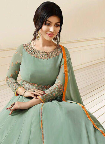 Light Green and Golden Embroidered Anarkali