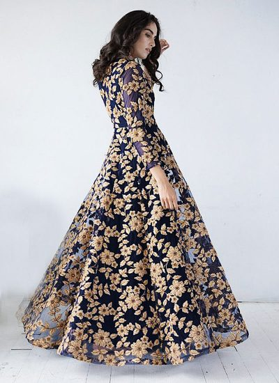 Midnight Blue and Golden Embroidered Anarkali Gown