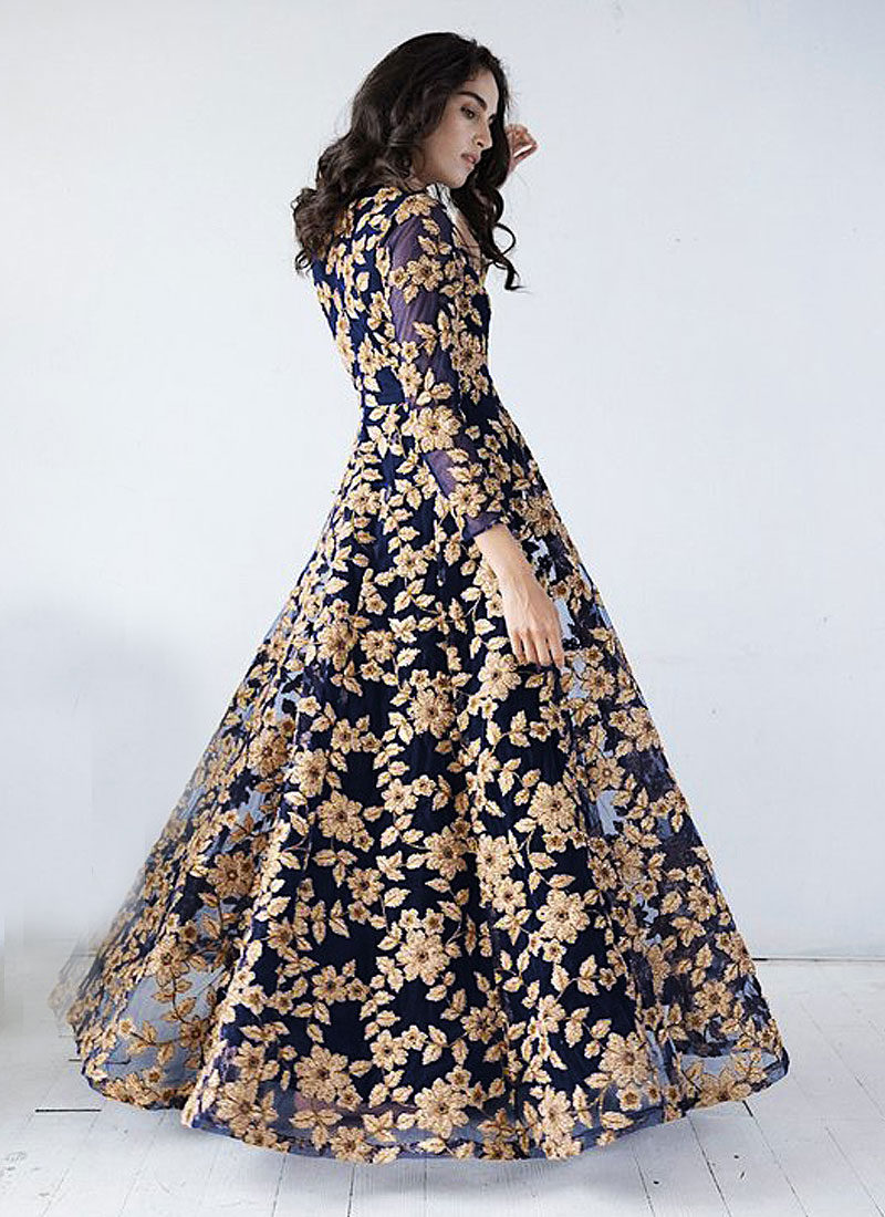 Midnight Blue and Golden Embroidered Anarkali Gown – Falakenoor Boutique