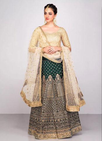 Green and Golden Embroidered Lehenga Choli