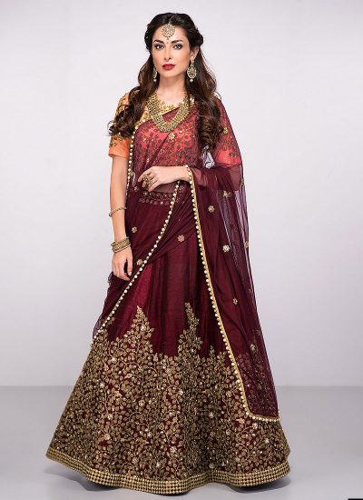 Maroon and Golden  Floral Embroidered Lehenga Choli