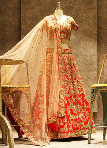 Orange and Golden Embroidered Bridal Lehenga Choli
