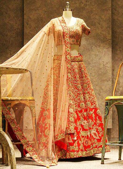 Orange and Golden Embroidered Bridal Lehenga Choli