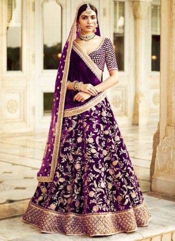 Purple and Gold Heavy Embroidered Lehenga Choli