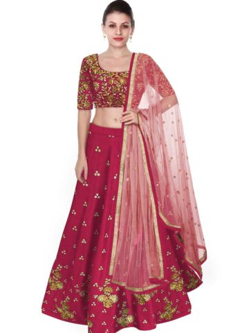 Pink and Gold Embroidered Lehenga Choli