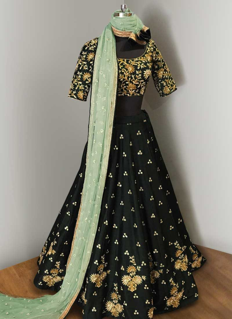 Black and Gold Embroidered Lehenga Choli
