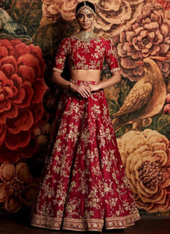 Red and Gold Floral Embroidered  Lehenga Choli