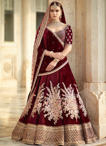 Maroon and Gold Floral Embroidered  Lehenga Choli