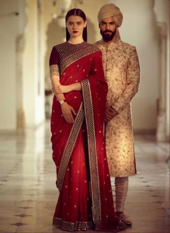 Red and Gold Embroidered Saree