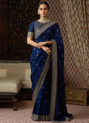 Blue and Gold Embroidered Saree