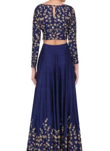 Blue and Gold Embroidered Lehenga Choli