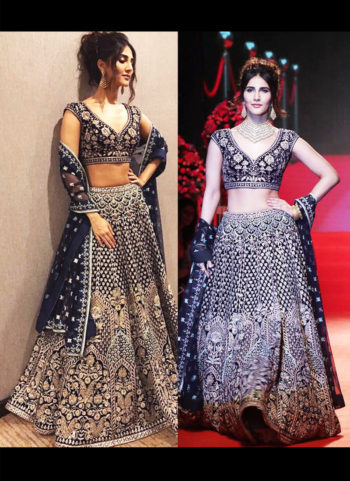 Black and Gold Heavy Embroidered Lehenga Choli