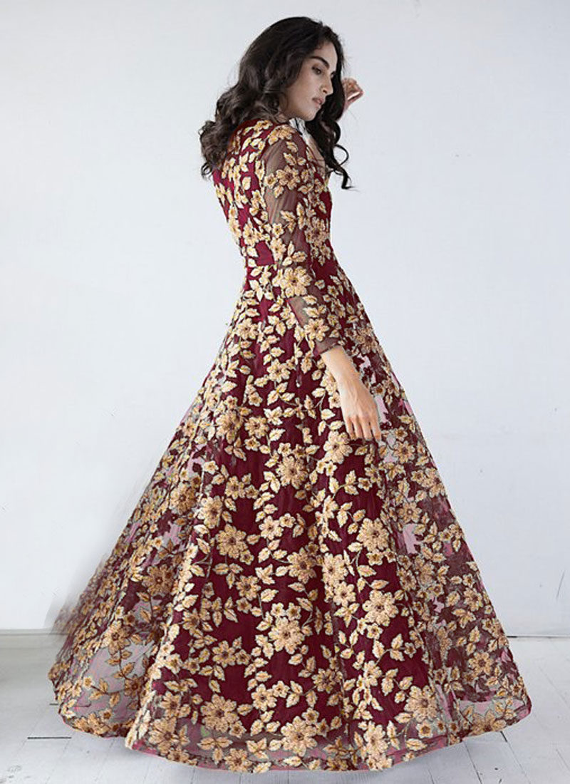 Maroon and Golden Embroidered Anarkali Gown – Falakenoor Boutique