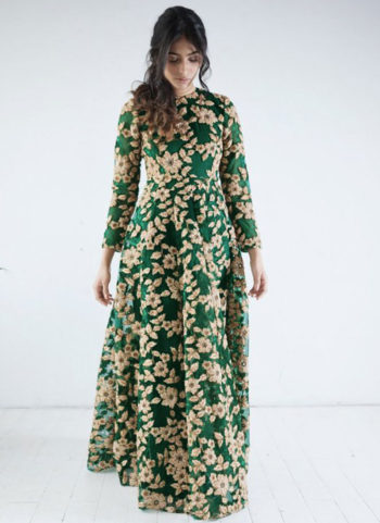 Green and Golden Embroidered Anarkali Gown