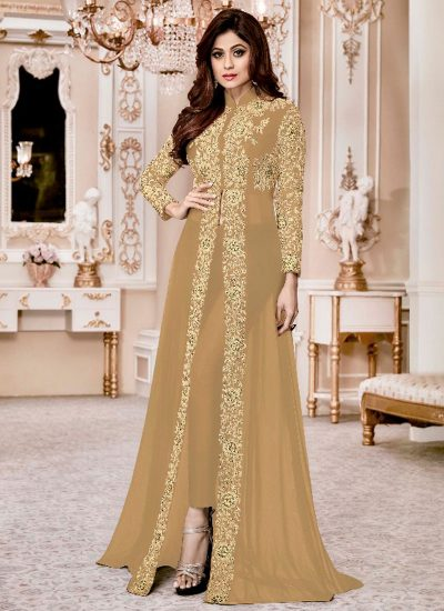 Nude and Gold Embroidered Pant Style Anarkali