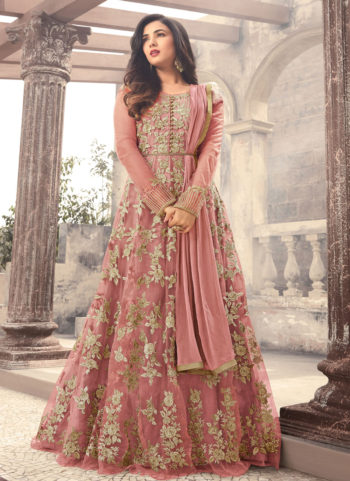 Light Pink and Gold Embroidered Anarkali Gown