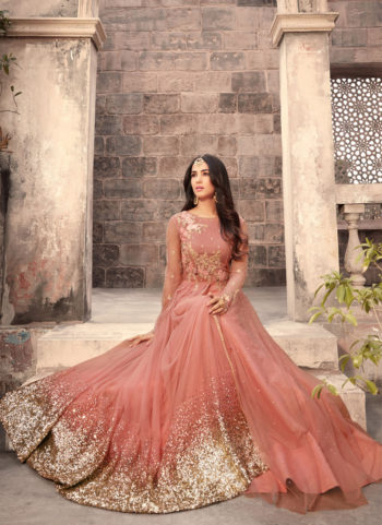 Peach and Gold Embroidered Anarkali Gown