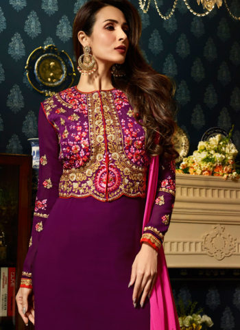 Malaika Purple and Gold Embroidered Koti Style Straight Suit