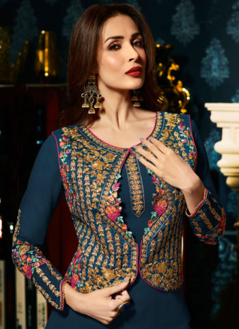 Malaika Blue and Gold Embroidered Koti Style Straight Suit