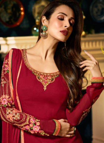 Malaika Pink and Gold Embroidered Koti Style Straight Suit