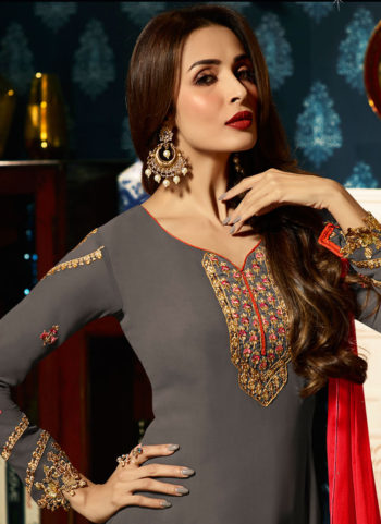 Malaika Grey and Gold Embroidered Koti Style Straight Suit