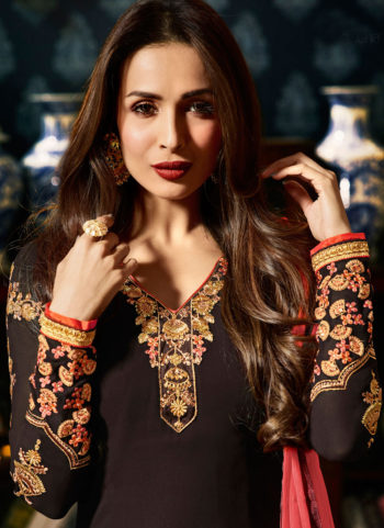 Malaika Brown and Gold Embroidered Koti Style Straight Suit