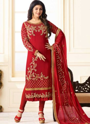 Ayesha Red and Gold Embroidered Straight Suit