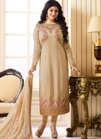Ayesha Beige and Gold Embroidered Straight Suit