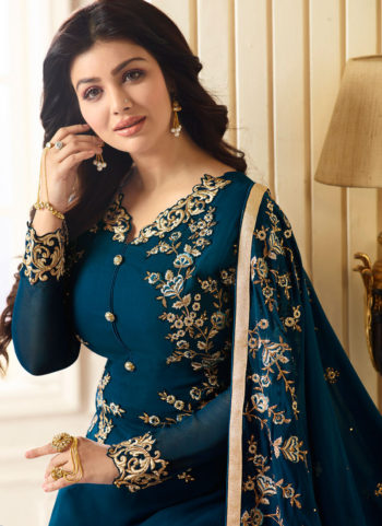 Ayesha Teal and Gold Embroidered Straight Suit
